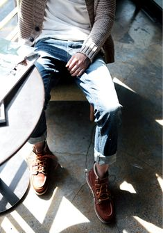 Tan Knit Cardigan, Faded Jeans, White Tee, and Tan Work Boots. Men's Spring Summer Street Style Fashion.