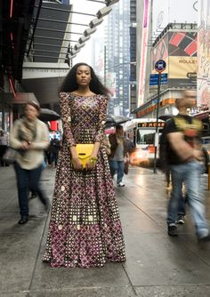 I would rock the heck out of this African-inspired, long-sleeved dress!