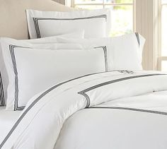 Grand Embroidered 200-Thread-Count Duvet Cover & Shams #potterybarn