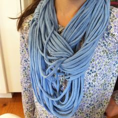T-shirt scarf in blue.  Husband's old shirt up-cycled into a great accessory!  (my daughter is wearing this one)
