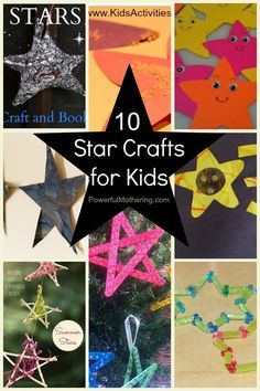 10 Star Crafts for Kids Don`t you just love star crafts? I especially love to pair star crafting with a book or a nursery rhyme like twinkle twinkle little star. Below are 10 activities for you to do with your toddler or preschooler. Noel Christmas, Christmas Crafts, Christmas Program, Christmas Decorations, Toddler Crafts, Crafts For Kids, Kids Diy, Summer Crafts, Advent