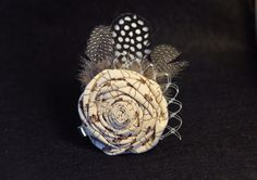 Vintage Inspired Fabric Flower Hair Clip with by mcclellansn, $7.00