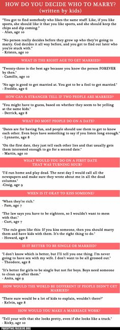 Kids' Thoughts on Marriage