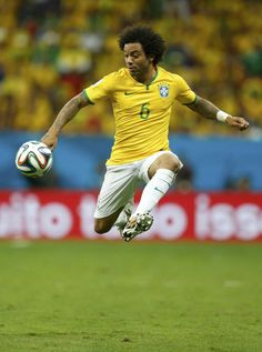 Marcelo is photographed dominating a ball in the air during the match against the African team.
