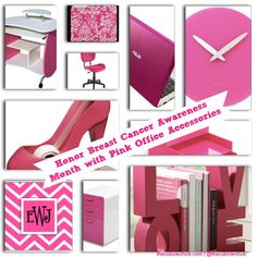 Think Pink: Honor Breast Cancer Awareness Month with Girly Pink Office Accessories with a woman's shoe tape dispenser, love book ends, and a chic pink wall clock.