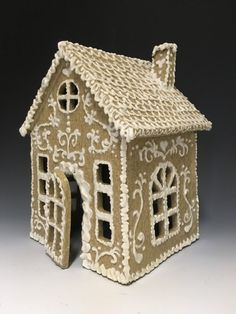 Gingerbread sweetness–a luminary…found a home before it ever even made it to Etsy thanks to friend Kim. Architectural Sculpture, Pottery Sculpture, Slab Pottery, Clay, Ceramics, Bird, Outdoor Decor, Gingerbread Houses, Projects