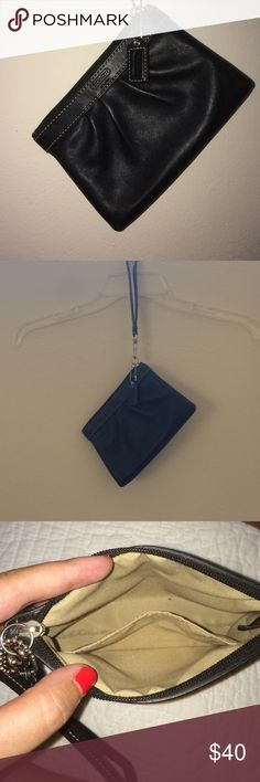 Black Coach Wristlet Small black Coach wristlet. Zips closed and has a small pocket inside the bag. Used maybe once. It's a great little bag! Coach Bags Clutches & Wristlets