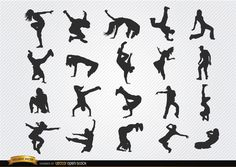 Break dance silhouettes; 20 hip hop dancers making their awesome movements. This vector is perfect for promoting hip hop events or break dance parties. Under Commons 4.0. Attribution License.