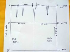 Full step-by-step photo tutorial to make your own pencil skirt sloper pattern. Unique spreadsheet - enter your measurements, pattern is worked out for you.