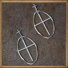 Silver Oval Cross Earrings. www.TheLuckyCowgirlShop.com #western #cowgirl #gypsy #boho #fashion