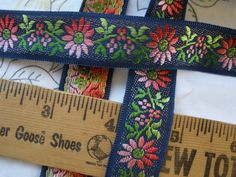 Jacquard Ribbon Ombre Pink Flowers Navy blue Made Switzerland 21mm woven trim by the yard embellishment yardage Rayon costume by kabooco on Etsy