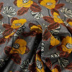 Tissu coton pavots d'orient gris - Poppy x 10 cm Poppy, Fabrics, Poppies