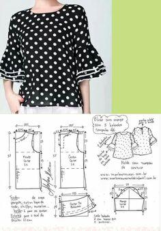 DIY - molde, corte e costura - Marlene Mukai Blouse Patterns, Clothing Patterns, Blouse Designs, Free Clothes, Diy Clothes, Sewing Blouses, Sewing Pants, Make Your Own Clothes, Easy Sewing Patterns