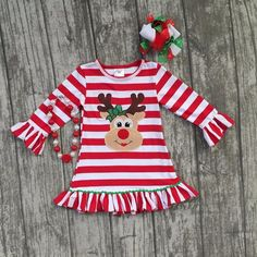 Deer Striped Ruffle Dress