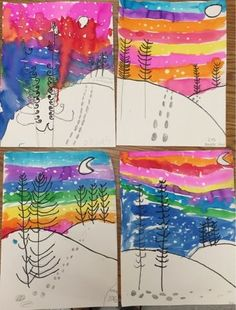 Math Worksheet : Mrs Knight s Smartest Artists Winter landscapes by grade Winter Art Projects Classroom Art Projects, School Art Projects, Art Classroom, First Grade Art, 2nd Grade Art, Kindergarten Art Lessons, Art Lessons Elementary, Kids Art Class, Art For Kids
