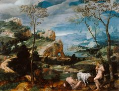 """Landscape with Mercury and Argus,"" Unknown maker, Flemish, about 1570. Oil on panel. J. Paul Getty Museum, Los Angeles, California 