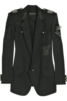 Balmain | Studded Cotton-Canvas Military Blazer | dystopian elite