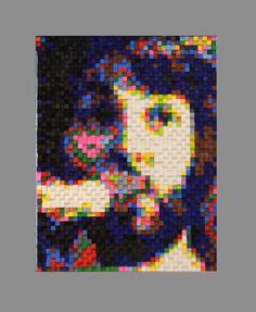 """""""Let it be - McCartney"""" costrucción de Cubos de madera de 1 cm sobre madera porcion 85cm por 75cm"""