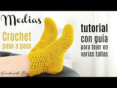 Aprende a tejer medias a crochet paso a paso Crochet Socks Pattern, Crochet Square Patterns, Loom Knitting Patterns, Sewing Stitches, Crochet Shoes, Crochet Supplies, Crochet Winter, Single Crochet Stitch, Learn To Crochet