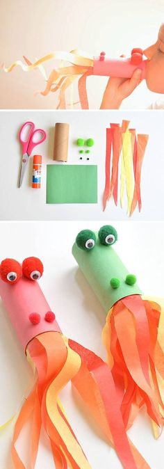 Toilet Paper Tube fire breathing dragons. Fun for Chinese New Year