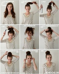 Merricks Art: Giant Fluffy Bun Tutorial good for those of us with lots of layers as opposed to the sock bun. I have no idea how to manage long hair. My Hairstyle, Pretty Hairstyles, Braided Hairstyles, Vintage Hairstyles, Wedding Bun Hairstyles, Bun Hairstyles For Long Hair, Bandana Hairstyles, Hairstyles Haircuts, Long Thin Hair