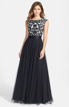 Free shipping and returns on Aidan Mattox Embroidered Bodice Mesh Ballgown at Nordstrom.com. Laser-cut flourishes embroidered over a contrast bateau-neck bodice add modern graphic styling to a timeless gown. A lustrous satin ribbon defines the cinched waist before the gossamer mesh skirt flares into a dramatic A-line silhouette.