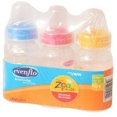 Evenflo Bottles, Slow Flow, Decorated, 8 oz, 1 (0-3 M) 3 pk (Pack of 4). Buy in bulk & save!. Great Tasting. 3 pk size unit of measure. 4 Pack(s) Units Total. Brought to you by Evenflo.