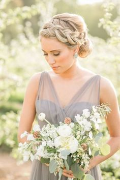 french braided wedding updo hairstyle for long hair