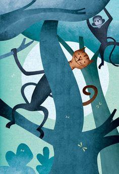 Ilustrador Daniel Bueno: felino e macaquinho