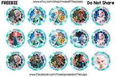 Click to download full size. Free bottle cap images. Frozen Fever, Anna, Elsa.