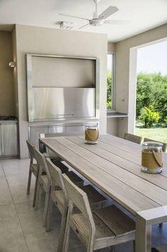 Marcela Parrado Arquitectura, Casa 13 - Face Tutorial and Ideas Kitchen Cabinet Design, Kitchen Tiles, Floors Kitchen, Kitchen Designs, Parrilla Interior, Modern Porch, Sweet Home, Deco Design, Exterior Design