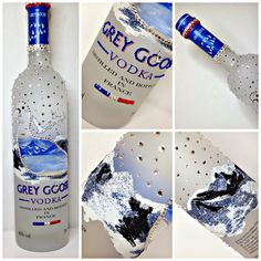 Grey Goose Vodka with crystals and coloured glitter on mountains Alcohol Bottle Crafts, Alcohol Bottles, Liquor Bottles, Vodka Bottle, Bling Bottles, Grey Goose Vodka, Diy Gift Baskets, Custom Bottles, Sorority