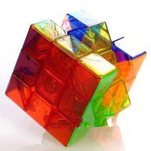 2015 nuevo moyou 57mm 3x3x3 cubo mágico seis color transparente cubos de juguetes educativos rompecabezas juguetes especiales(China (Mainland))