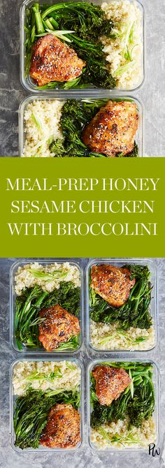 Meal-Prep Honey Sesame Chicken with Broccolini #purewow #food #recipe #cooking #lunch