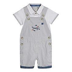 J by Jasper Conran - Baby boys' grey applique bib shorts and bodysuit set