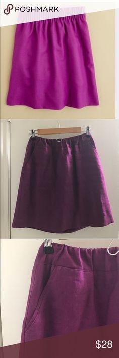 JCREW purple linen skirt Cute waist detail. Pretty fuschia/purple color! Pockets. J. Crew Skirts