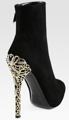 Ralph Lauren Black Bettina Suede Embellished Heel Ankle Boots