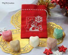 Fragrant Satchel - White Reindeer & Snowflake, AU$15.00