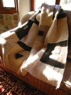 Recycled Sweater Blanket—turn old, holey sweaters into a woolen throw for winter