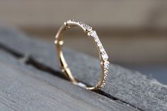 18k Rose Gold Round Bamboo Stackable Ring Thin Dainty Band Brilliant Cut Ring