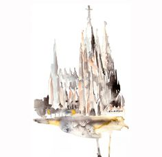 Barcelonas Sagrada Familia abstract ART PRINT 13X19 watercolor painting    ...BTW,Please Check this out:  http://artcaffeine.imobileappsys.com