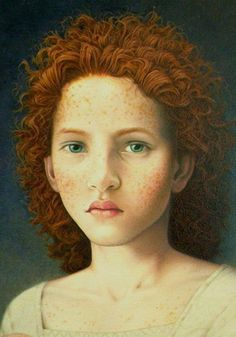 """Pangaea"" - Thomas Clayton (b. 1957), oil on masonite {figurative illustrator art female redhead young woman freckle-face portrait painting detail}"