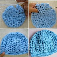 Puff Stitch Crochet, Crochet Video, Crochet Stitches, Knit Crochet, Crochet Patterns, Crochet Hats, Diy Crochet Headband, Crochet Baby Beanie, Diy Headband