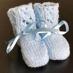 New Hand Knitted Baby Boys Blue Shimmer  Bootees Fits 0 - 3 mths