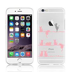"""JAMMYLIZARD Custodia per iPhone 6 4.7 """" GATTINI silicone trasparente con pellicola proteggi schermo inclusa"""