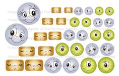 PK-0182 Sweet and Silly Face Assortment- Clear Face Stamps for Die Cuts and Digital SVG Cut Files