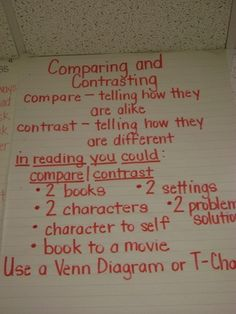 Comparing and Contrasting anchor chart