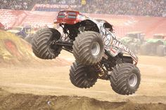 OPTIMA-sponsored Monster Truck, Raminator catches big air at a Monster Jam event