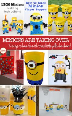 Those adorable little henchmen are taking our planet by storm - so we've rounded up 21 AWESOME Minion crafts that your kids are going to love! Summer Activities For Kids, Easy Crafts For Kids, Toddler Crafts, Projects For Kids, Fun Activities, Art Projects, Lego Projects, Minion Birthday, Minion Party