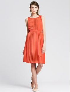 Pleated Tie-Front Dress